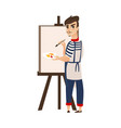 flat man artist painter drawing on easel vector image vector image