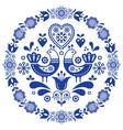 folk art round ornamental frame with birds vector image vector image