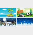four background scenes nature vector image