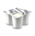 Four yogurt cups isolated on white vector image vector image