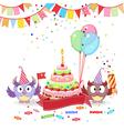 funny owls congratulates vector image