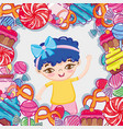 girl and candies cartoons vector image