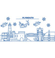 great britain plymouth winter city skyline merry vector image vector image