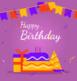 greeting happy birthday in banner square social vector image vector image