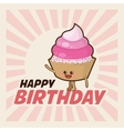 Happy Birthday design cupcake icon Colorfull vector image