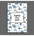 Happy new year card template with cute cartoon vector image vector image
