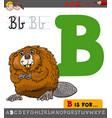 letter b with cartoon beaver vector image vector image