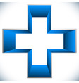 medical cross icon 3d cross plus shape for vector image