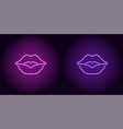 neon lips in purple and violet color vector image vector image