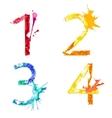 paint splash font 1234 vector image vector image