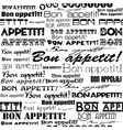 Seamless Bon appetit pattern vector image vector image