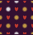 seamless pattern of snowflakes and hearts vector image