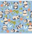 seamless pattern with cute pandas graphics vector image vector image