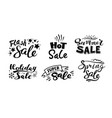 seasonal sale monochrome stickers set with vector image