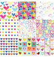 set of nine colorful patterns for valentines day vector image