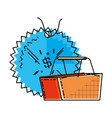shopping basket with commercial tag hanging vector image
