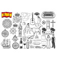 spanish travel icons symbols map and flag vector image vector image
