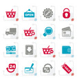 stylized shopping and retail icons vector image vector image