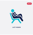 two color lazy human icon from feelings concept vector image vector image