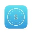 Wall clock with dollar symbol line icon vector image vector image