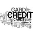 what is a cash back credit card text word cloud vector image vector image