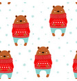 winter pattern with cute bear vector image vector image