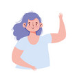 young woman female cartoon avatar isolated icon vector image vector image