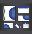 blue and white stationery template design vector image