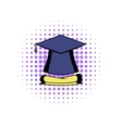 Graduation cap and diploma icon vector image