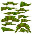 set of green ribbons vector image