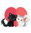 black and white kitten with heart vector image vector image