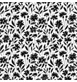 black flowers with stems seamless pattern vector image