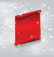 Blank red realistic curved paper banner with snow
