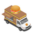 burger truck icon isometric style vector image