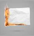 burning piece paper with copy space crumpled vector image vector image
