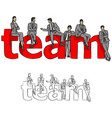 business people with red big word team vector image vector image
