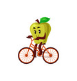 cartoon apple cycling on bike vector image vector image