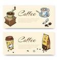 coffee hand grinder and beans cup coffee set vector image vector image