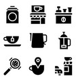 coffee related icon set solid stye vector image vector image