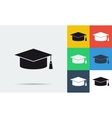 Colored and monochrome student cap icon vector image vector image