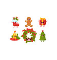 cute christmas cartoon characters set wreath vector image vector image