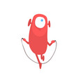 cute freaky red one eyed monster skipping rope vector image vector image