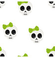 cute halloween cartoon skull seamless pattern vector image vector image