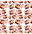 cute monkey on seamless pattern vector image vector image
