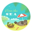Cute seal and turtle sunbathing under umbrella vector image vector image