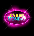 cyber monday sale neon banner shopping discount vector image vector image