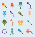 different microphones icons interview music vector image