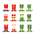elf feet and legs christmas santa elves stocking vector image vector image
