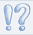 exclamation mark and question mark blue hand vector image