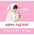 Funny easter holiday card Bunny egg hunt vector image vector image
